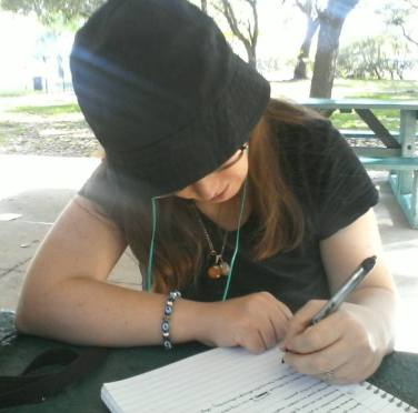 new profile pic writing at park